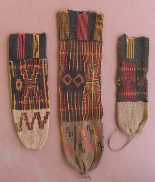 Group of three Pre-columbian pouches, Peru, Sihuas Valley, 100 BC - 400 AD.  Very unusual group of large pouches from the Sihuas Valley.  The early, almost severe coloration in these  ...