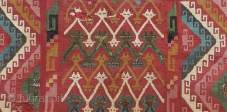 Pre-Columbian Tapestry Textile. Very interesting mounted fragments of both faces of a large coca bag. Each half is nearly complete and there must have been damage at the very bottom of the  ...