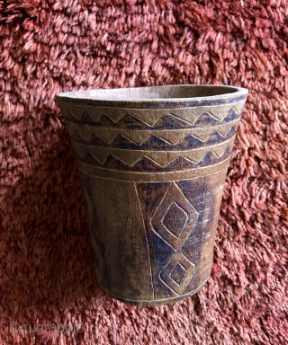 Large, incised ceremonial drinking vessel (Kero). Incan period, highlands of Bolivia.  Keros came into use around A.D. 400 - 500 during the Tiwanaku period and where used there after in many  ...