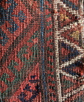 Bold Jaff Kurd bag face with single hooked diamond medallion field. Old and fragmented with good color.  Size 23 x 24 inches.