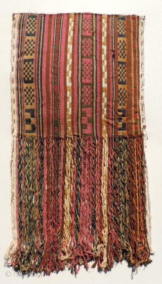 Large Pre-Columbian Bag with Fringe,  Central Coast Peru, A.D. 900 - A.D. 1400.  Size: 11.5 x 22 inches.