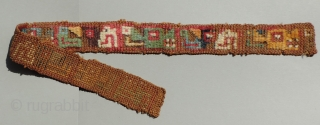 Wari Culture pile headband from the highlands of the South Central Andes - A.D. 500 - 800.  This pile technique is normally found on elite,  four-cornered, Wari hats - headbands  ...