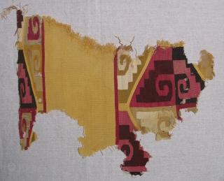 Beautiful Wari Tunic Fragment, Peru, AD 500 - 800.  Size:12 x 15 inches.  Fine weave,