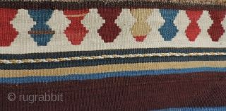Azerbaijan Kilim.  This 19th century weaving has an unusual collection of designs and a good variety of clear, pleasing natural dyed colors.  It is in very good condition. It has  ...