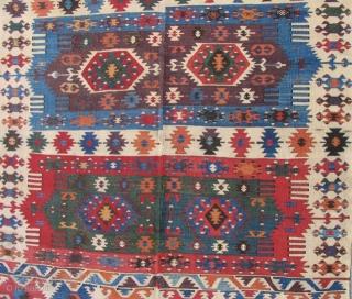 "Anatolian Kilim, 1st half 19th century, beautiful color and condition. Size: 4'10"" x 11' 7""."