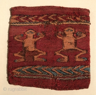 Amphibians!  Great little pre-Colunbian textile with frogs on each face.  Warm familiar colors and strong graphics. Probably dates to about A.D. 400 - 600.  Conserved and clean. Size 7  ...