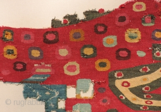 Spectacularly colored Incan tapestry tunic fragment unlike anything published. The circular spots likely represent the pelt markings of the jaguar. Jaguars can weigh of up to 350 pounds and are the largest  ...
