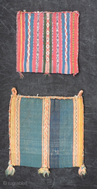 Three very old Aymara coca bags.  Probably pre-dating the 19th century.  These are on the large size for such things.  Some condition issues, but rare and worthy examples of  ...