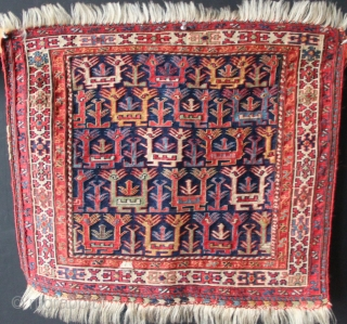 """Mid 19th century Shahsavan soumac bagface. Superb example. 2'0"""" x 1'9.5"""" in excellent condition with one small, faded old repair."""
