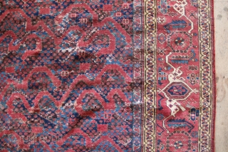 Mid 19th century or earlier 'Snake' Beshir rug, reduced in size, patched and with old repairs. Very handsome devil though, with the big border, the whimsical field drawing and old, old colours….  ...