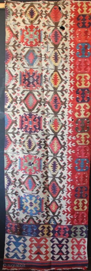 "Early 19th century Hotamis kilim fragment, Anatolia, 2'10"" x 9'0"" with an uncanny purple."