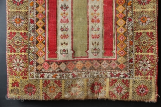 "19th century Mudjur prayer rug with very unusual field arrangement of columns on an ivory ground. 3'8"" x 4'8"""