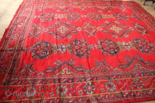 Oushak carpet, circa 1930, in full pile and square. 335 x 315cm