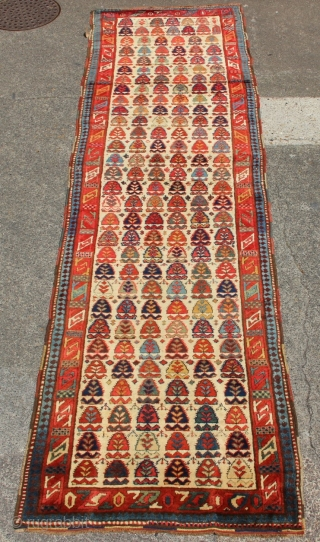 """Fantastically colourful Kurdish runner 3'6"""" x 12'4"""" in full pile, no restorations, and great age"""