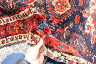 This extraordinary early Karadja is still available. The thickness of pile is really quite something, about an inch or 2.5 cms over most of the rug and the colours...well...just look......