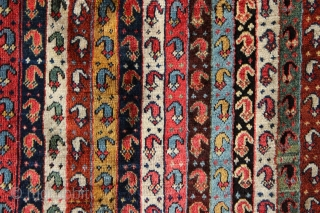 Colourful 3rd quarter 19th century Qashqai Shekarlu rug with beautiful natural dyes and great patination. In fair condition, looks like several expert repairs done in Turkey, sides and ends are all original.  ...