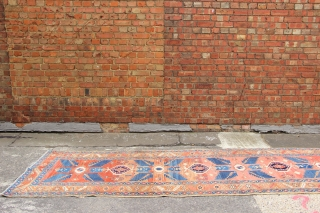 "Soft coloured Karaja runner circa 1920 3'6"" x 17'7"" in great condition, clean, flat & straight, ready for your floor."