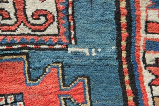Greeny/blue field, dated, Karachov Kazak approx 3' x 6'