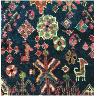 Very tribal Afshar rug with good zoomorphic designs and a very interesting  outer border. Decent pile, all natural colors and nice silky wool.