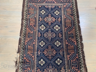 """SOLD NIce 19th Ca Baluch 4'5""""x2'7"""" No Repairs. Selvages need rebinding. Main body free of holes and in very good condition."""