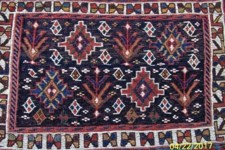 """Bakhtiari Sumac complete saddle bag, 19th century, 34'x20"""". Drawing in the sumac faces is open and balanced with excellent, all natural colors and deep indigo field.  White is cotton in sumac  ..."""