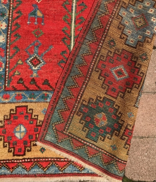Konya prayer rug with memling gul border. 53x 40 inches. Classic 19th century village rug. No repairs. All good colors, including strong green. See closeups. Velcro strip sewn on for hanging