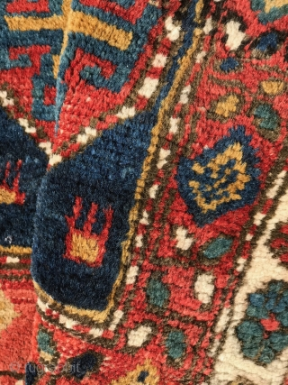 NW Persian bagface with striking classic memling gul containing 8 pointed star in the field and animals in the 4 corners. All good colors. Wool pile on cotton warps and wefts. Some  ...
