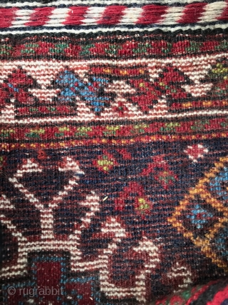 Qashqai bag with detailed back. 22x22in Near perfect condition, only very minor wear in bottom corners. All loops, closures and multicolor wrapped selvedge intact. Reciprocal weft back. One fugitive dye that has  ...