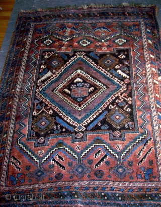 "Afshar, 48"" x 62"".  Circa 1900.  Wool foundation, all natural dyes.  Good condition with good pile.  Some minor oxidation.  Very loose drawing.  Ends missing a few  ..."