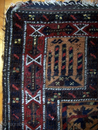 """Baluch prayer rug, 30""""x54"""".  More colors than is typical with interesting hands and main border.  Areas of wear.  Please check out my other listings. For more photos see http://picasaweb.google.com/joseph.beck/RugsForSale#"""