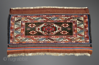 Antique Veramin bagface.  Good example of the form: beautifully drawn, uncluttered, great colors and wool. More than the usual details, including flat-woven ends, brocading and weft wrapped features. Displays exceptionally. All  ...