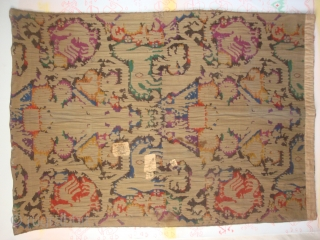 English textile with Sardinian design. Probably late 19th/early 20th century. 46 x 65 inches (117 x 165 cm). Silk chenille-like insertion on plain weave linen. From a Rhode Island estate auction. Thank  ...