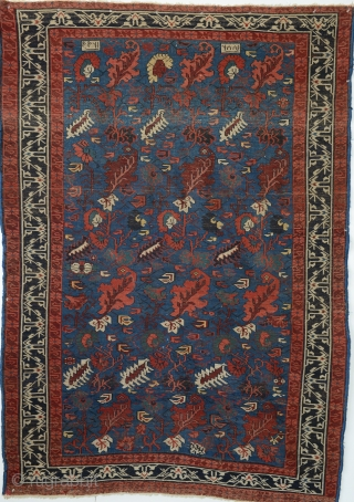 Antique Seikhur carpet with floral sprays repeat, 56 x 81 inches. Excellent condition, from a NY state estate. Dated twice, 1299 and 1881