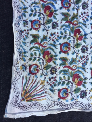 """Persian Handpainted and block printed  textile Size:175x139 cm / 5'9""""X4'6"""""""