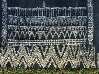 North African Textile,Indigo Bakhnoug textile,  Tunisian Libyan border region.   Size 6'8 x 3'2 FT