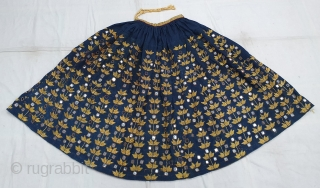 Ghaghra (Skirt) Indigo-Dyed Cotton Embroidered in floss silk and embellished with mirrors,From North-Western Region of India. India.C.1900.Its size is L-90cm Around is 360cm (20200102_135055).