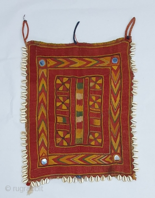 Rare Ceremonial Banjara Gala From Karnataka,South India. India.Embroidered on cotton. Gala is traditionally used by women to carry pots on their heads.C.1900.Its size is 28cmX35cm(20191128_145508).