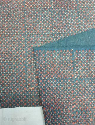 Indigo Blue,Early Daabu Block Print Yardage,(Natural Dyes on cotton) From Balotra, Rajasthan. India.C.1900. Its size is 47cmX550cm (20191223_154039).