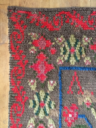 Small ryijy rug, probably from Åland, Finland, signed and dated AST 1854. It measures 134x93 cm. and has a few bright spots.