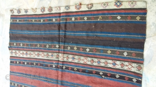 Old Kurdish Kilim, fragment , 170 x 160, 3 small holes, some traces of fucsine. Price upon request.