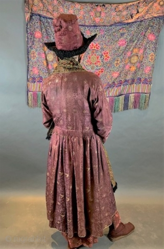 Silk brocade vintage coat from Ladakh.  Silk embroidery vintage scarf from North Pakistan. Sold separately.
