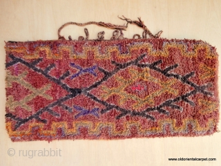 """MOROCCAN BERBER TENT BAG. Known as """"Anoual"""", this type of piled bag acts as a cushion or pillow and is usally part of a dowry. It is an old example in remarkably  ..."""