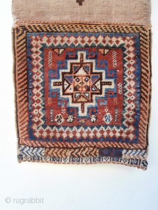 GABBEH TRIBAL BAG probably woven by Lurs. Although the design is more Kurdish in appearance examination of the weave on the reverse, together with the colours, shows that this is a Gabbeh.  ...