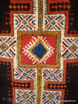 MOROCCAN HIGH ATLAS BERBER RUG which has beautiful soft lustrous wools including a mixture of undyed brown and black in the centre field. It is from the region of Tazenacht, south of  ...