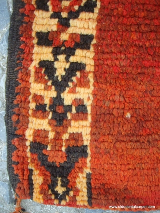 MOROCCAN TRIBAL LONG RUG /RUNNER. The rich pallette of colours is typical of the work of weavers of the Rehamna tribe in the region to the north of Marrakech. The pile is  ...