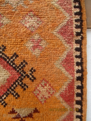 OLD MOROCCAN BERBER HIGH ATLAS CARPET -- it is very unusual to find such an old Berber carpet in this pristine condition with full pile with original undamaged sides and kilim ends.  ...