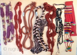 COLLECTION OF 7 RARE BERBER CEREMONIAL WOVEN BELTS - Woven for both Berber men and women and tied around the waist as part of the colourful clothes worn on special occasions. Details -  ...