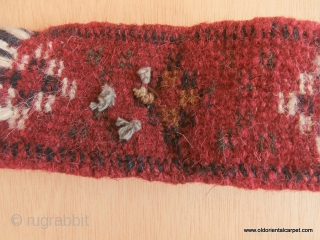 BELOUCH / BALOUCH ANIMAL TRAPPING. This extraordinary neck band is from a Belouch group in Khorassan. There are four raised, round flower heads in the pile and from each one there are  ...