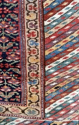 ANTIQUE KURDISTAN LONG RUG circa 1900. The warps and wefts are of fine two ply hand spun wool and this allows for a very fine knot density, weight and durability and fineness  ...