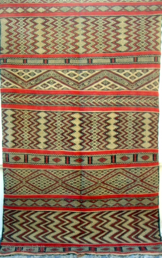 MOROCCAN MIDDLE ATLAS FLAT WEAVE/KILIM from Berbers in the Marmoucher region. This is an old example with a soft, supple, feel and is in excellent condition. It was probably used as a  ...
